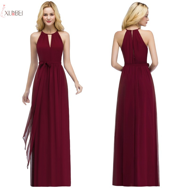 New Elegant Burgundy Green Chiffon Evening Dress Long 2019 Sleeveless A line Evening Gown robe de soiree