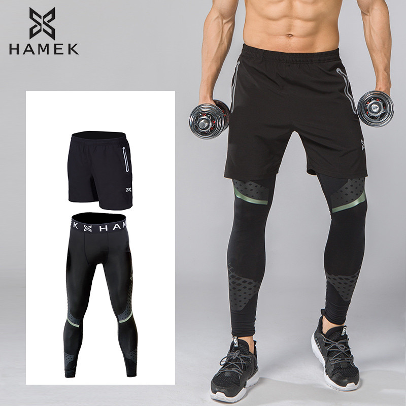 New 2Pcs Men Running Shorts Leggings Sports Soccer Compression GYM Fitness Basketball Tights Quick Dry Breathable zipper pocket 2017 women s yoga pants workout capri leggings running tights side pockets functional pattern patchwork sports leggings jnc2315