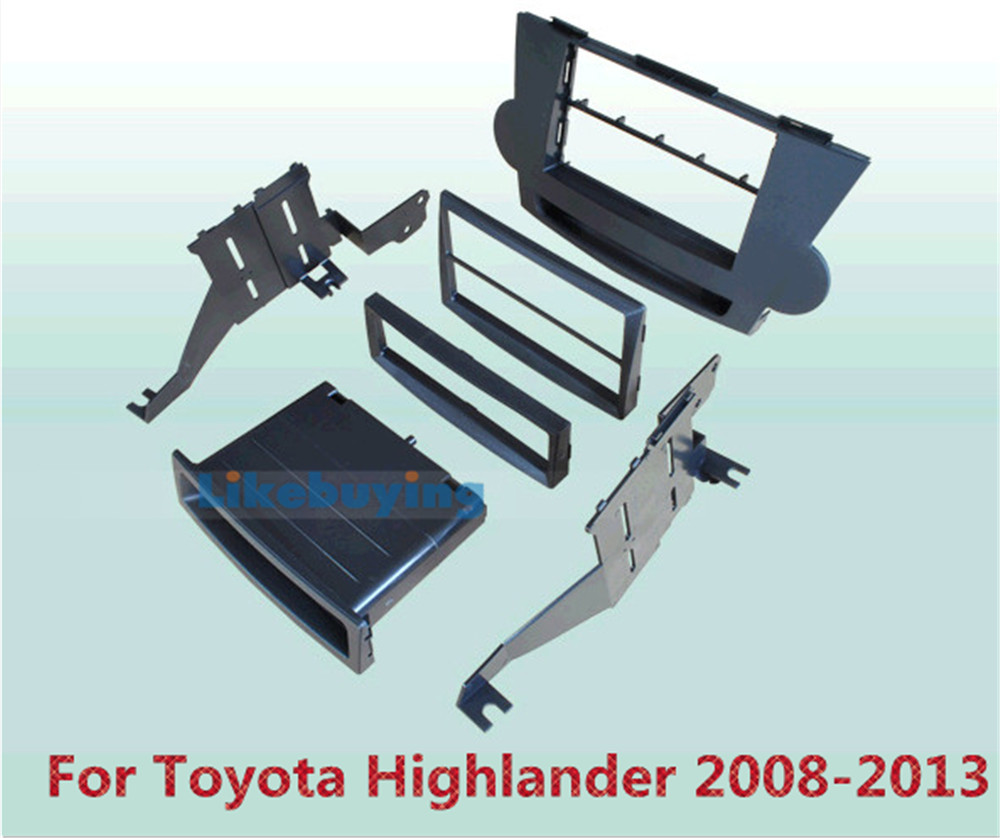 2 Din Car Frame Dash Kit / Car Fascias / Mount Bracket Panel For Toyota Highlander 2008 2009 2010 2011 2012 2013 2 din car refitting frame panel for jaguar s