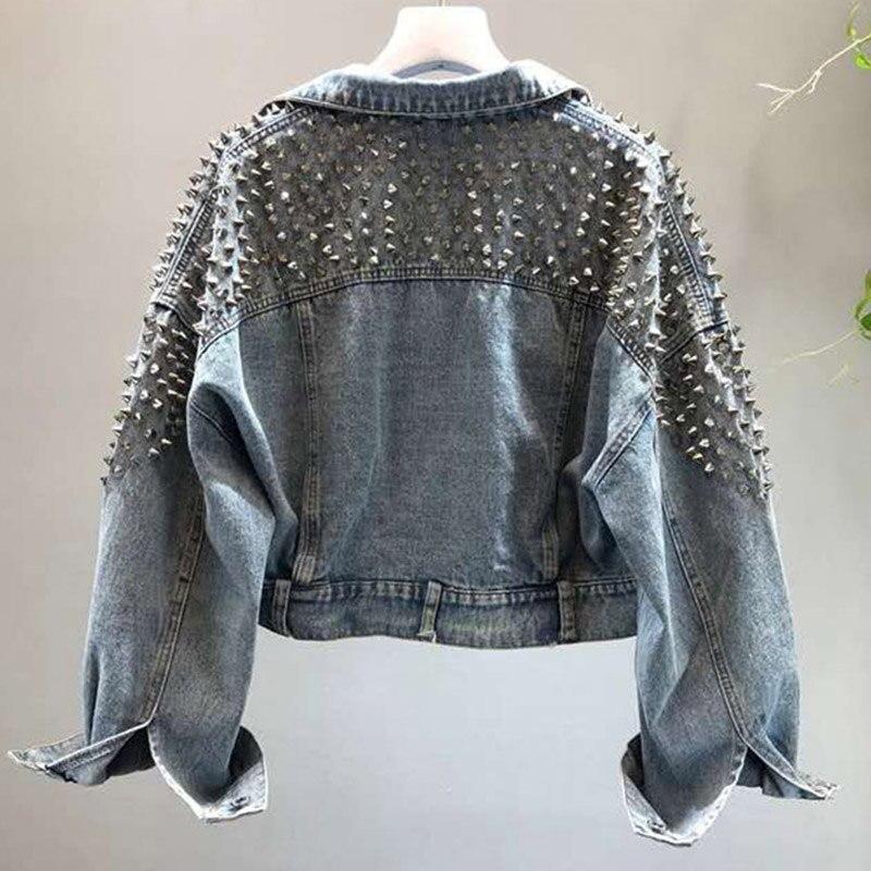 YingYuanFang Fashion New Bat Sleeve Heavy Work Rivet Short Washed Denim Jacket Female Jacket