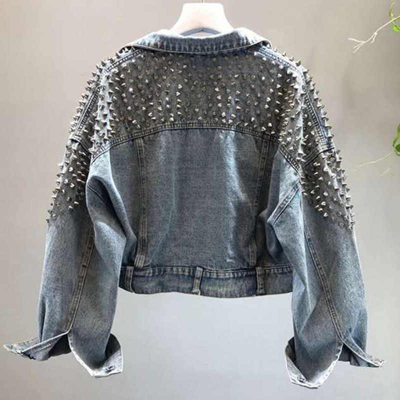 YingYuanFang, модная новинка, рукав летучая мышь, тяжелая работа, заклепки, короткая вымытая джинсовая куртка, Женская куртка