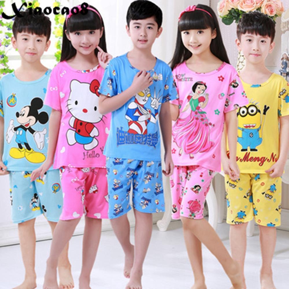 Pajamas     set   kids cartoon short sleeve boy sleepwear children's cute cat rabbite night wear sweet princess pink   pajamas   for girls