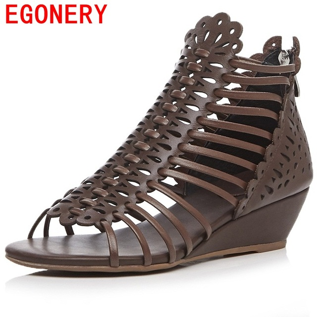 EGONERY sandals 2017 women genuine leather high quality popular shoes for summer 3 color casual style hollow shoes size 34-39