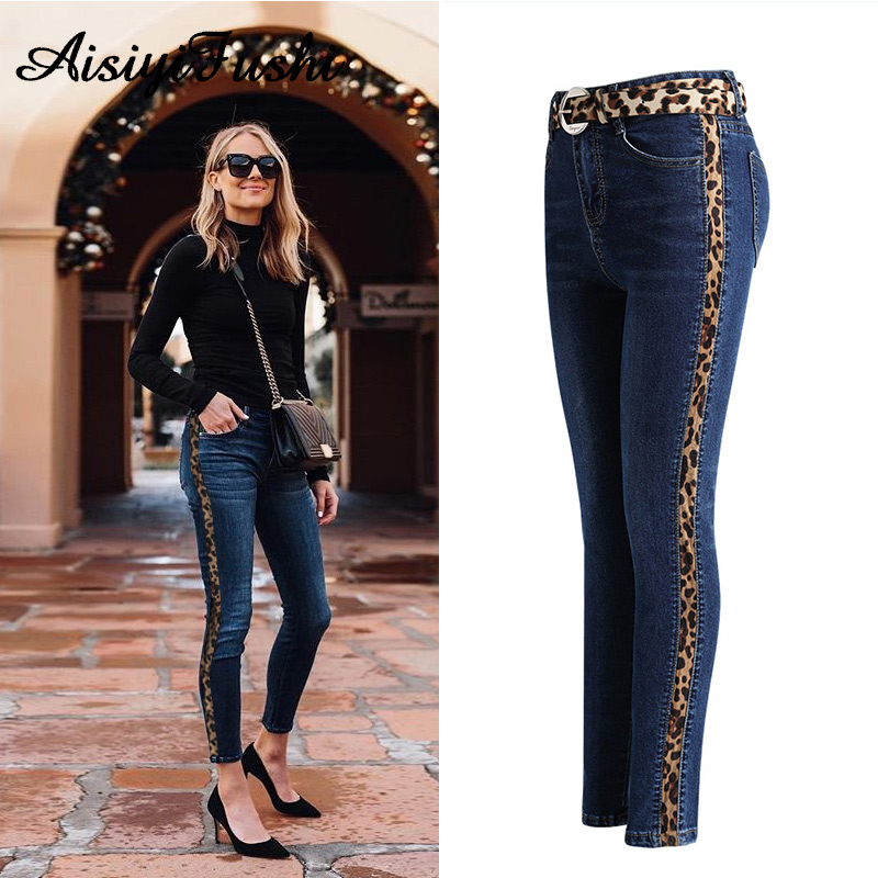 0ab820f045f7 Women Pants Denim Skinny Mom Jeans With Stripes Woman High Waist Leopard  Print Jeans For Women Vaqueros Mujer Women's Trousers