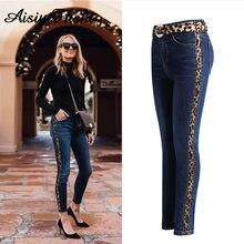 f825bf0ac73a5 Для женщин брюки для девочек джинсовые узкие мама джинсы с полосками женские  с высокой талией леопардовым
