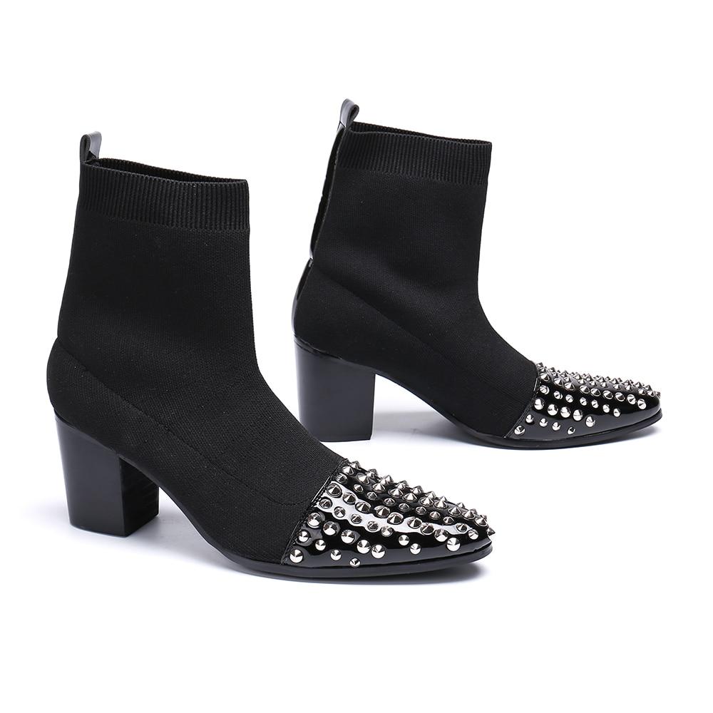 Dedo Tobillo Remaches Invierno Hombre Alto Altura Pie Bella Tacón Calcetines Hombres Moda Puntiagudo Negro Aumento Zapatos Los Botas La Del Christia De Vestido RYqwx7