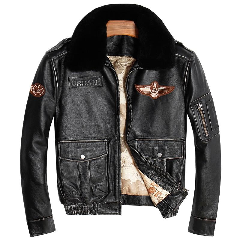 2018 для мужчин Винтаж Черный пояса из натуральной кожи пилот куртка шерстяной воротник толстые теплые зимние полета кожаное пальт