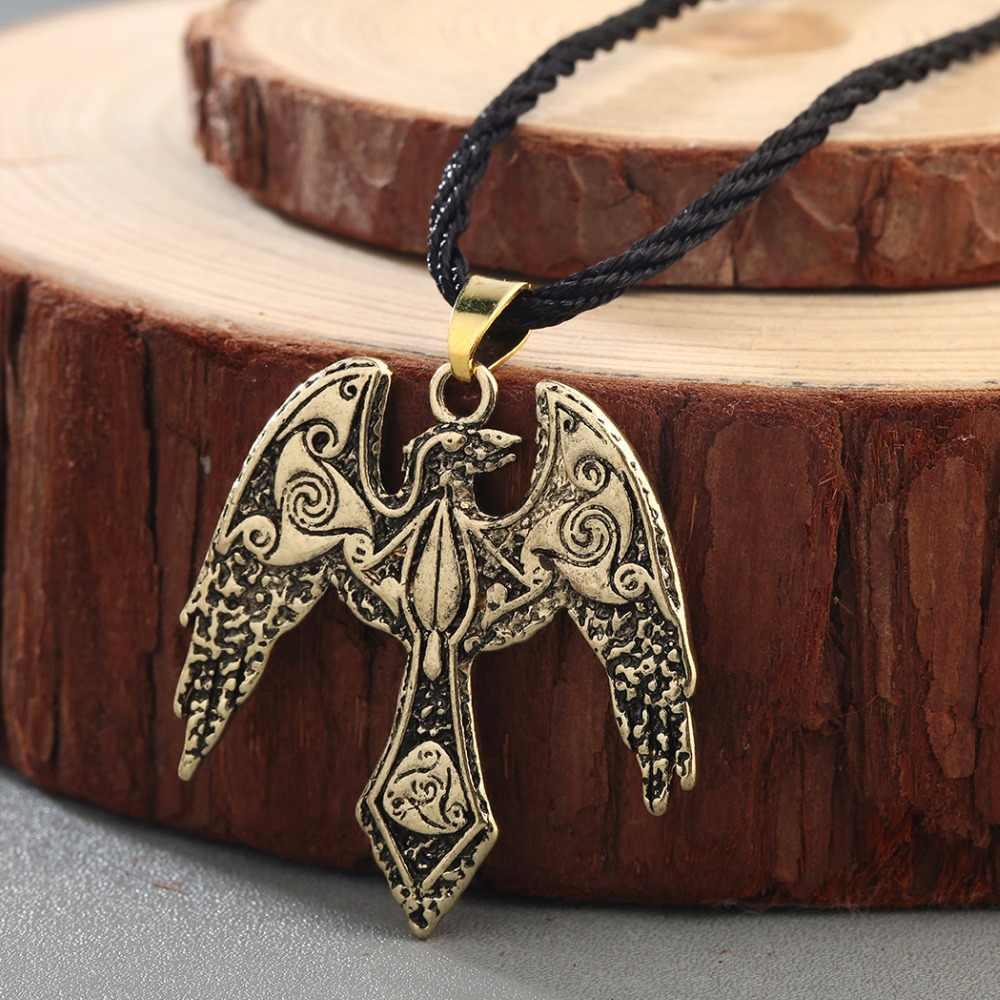 CHENGXUN męskie Viking Odin jest Raven naszyjnik starożytny dinozaur wisiorek duży ptak naszyjnik słowiański Symbol Amulet Celtic biżuteria