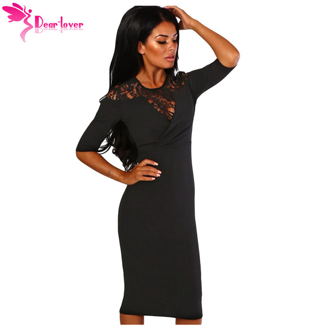 99d9ce742816 Dear Lover Work Autumn Style Women Bodycon Dress Black Lace Insert Notch O  Neck Half Sleeve Midi Dress Sheath Vestidos LC610220