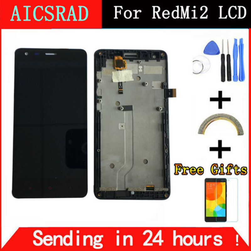 AICSRAD Black LCD+TP+Frame for Xiaomi Redmi2 Redmi 2 LCD Display+ Touch Screen Digitizer Assembly+Frame For Red Rice 2
