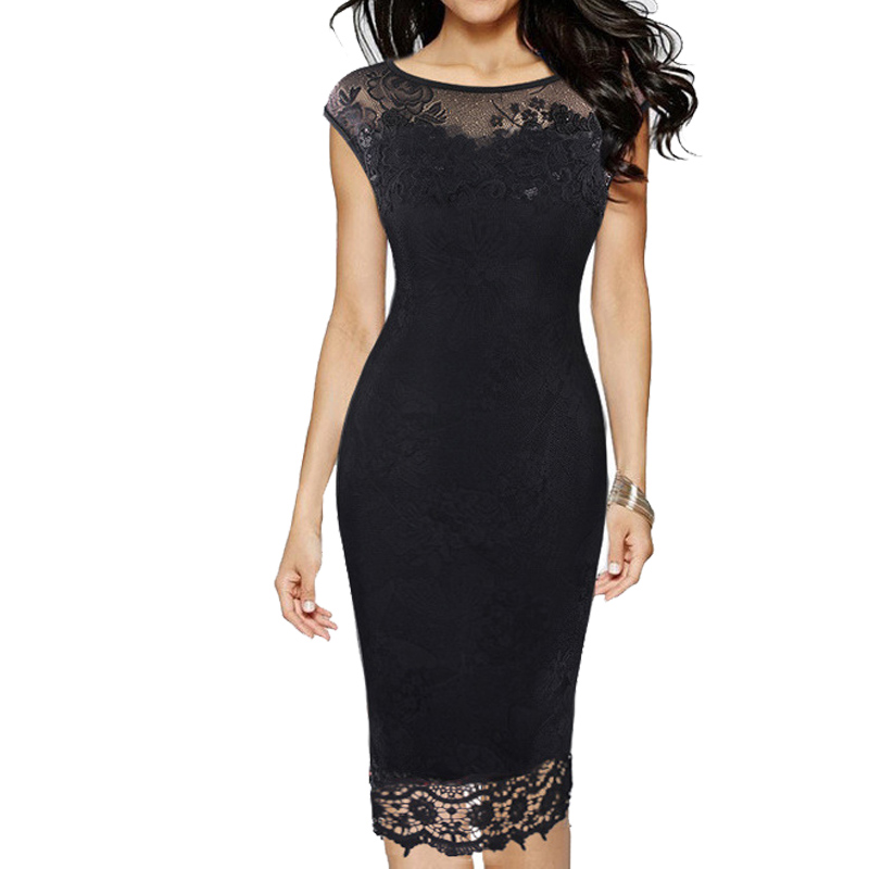 2019 Women Summer Vintage Dress Bodycon Lace Embroidery Evening Party Black Red Work Pencil Office Dress Plus Size Vestidos