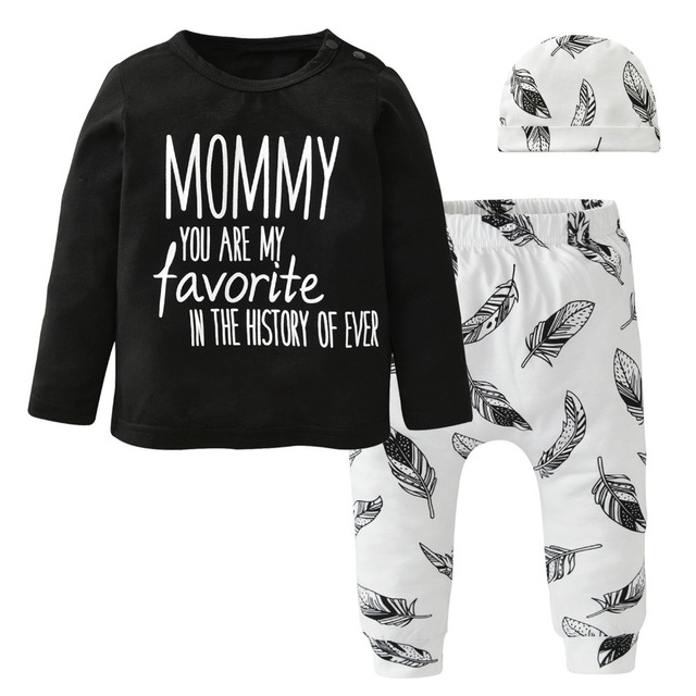 b55043259 Newborn Baby Boy Infant Clothes Set Letter Feather Printed Tops Pants Hat  Toddler 3PCS Outfit Set Baby Boys Clothing