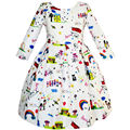 Sunny Fashion Girls Dress House Rainbow Bus Printed Cartoon Winter Dress 2017 Summer Princess Wedding Party Dresses Size 4-14