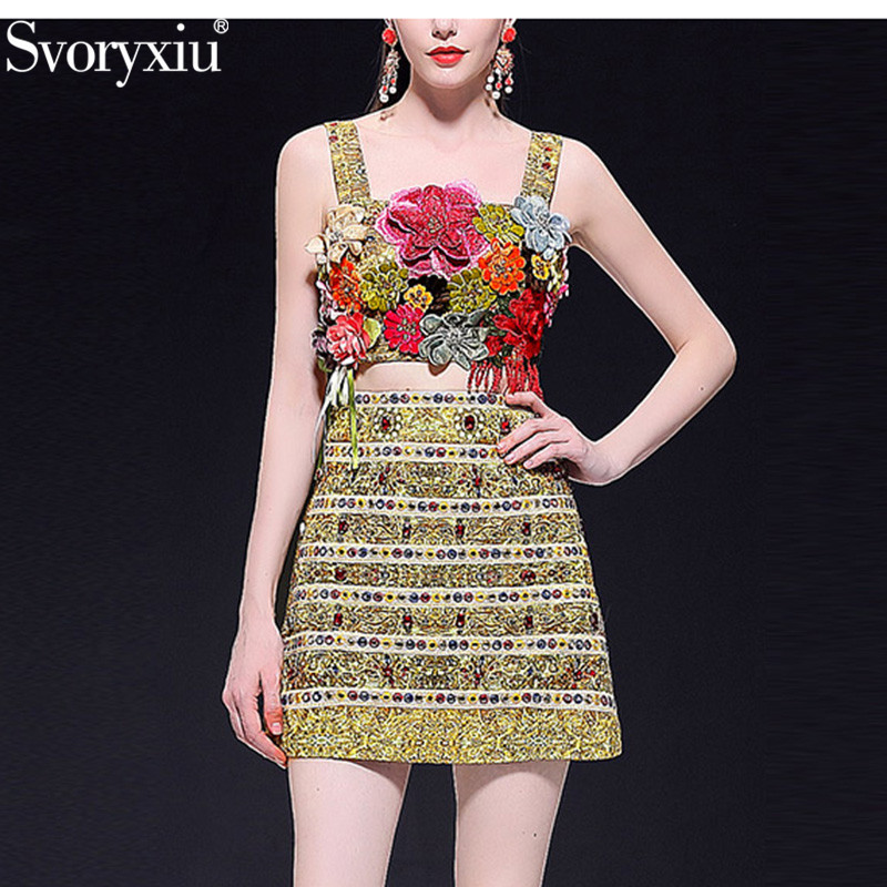 Svoryxiu Holiday Style Runway High End Summer Sexy Skirt Suit Women s luxury Beading Embroidery Applique