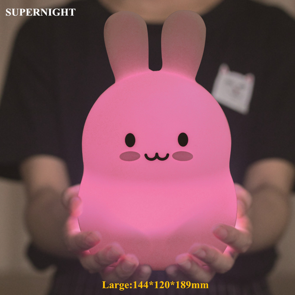 Cartoon Rabbit LED Night Light Touch Sensor 9 Colors USB Battery Powered Silicone Bunny Bedside Lamp For Children Kids Baby Gift