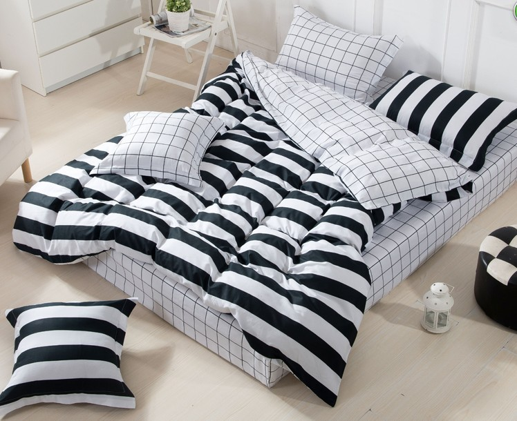 3D Black And White Striped Comforter Set Sets Queen Full Size Bedspread  Duvet Cover Sheets Bed In A Bag Sheet Linen Quilt Cotton In Bedding Sets  From Home ...