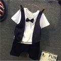 2016 new Summer baby's boy clothing set Gentleman Bow Tie Tshirt + Pants 2pcs suits Boy Casual Set Kids Tracksuit set