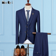 MarKyi fashion men suits for wedding 2016 famous brand suit slim fit single breasted groom plus size 3xl