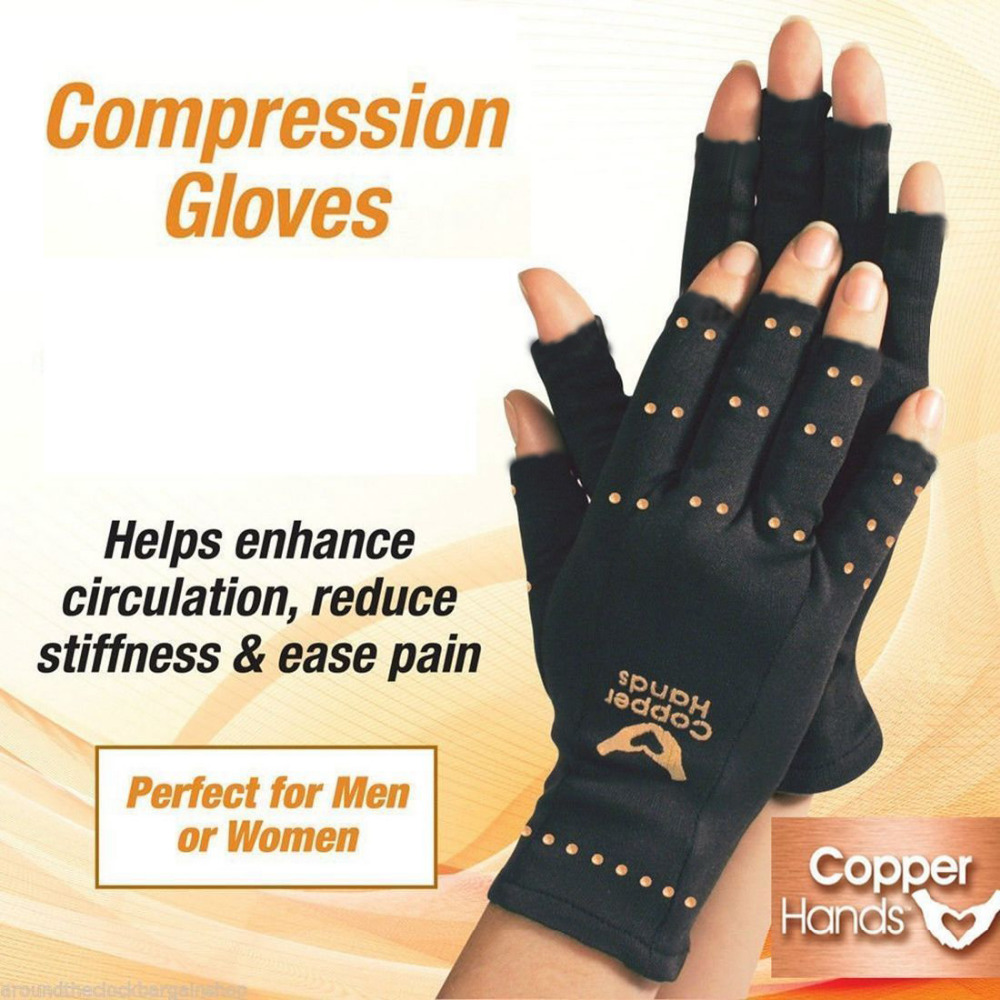 HIRIGIN Health Care Copper Fiber Gloves Anti Arthritis Hands Copper Therapy Compression Copper Gloves Ache Pain Relief