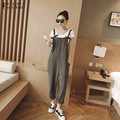 2016 Autumn ZANZEA Rompers Womens Jumpsuits Casual Loose Overalls Double Pockets Strapless Playsuits Oversized Long Pants