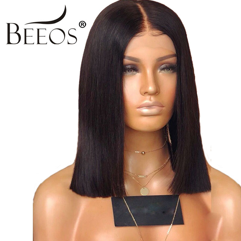 Beeos Hair Brazilian Remy 13*6 Straight Human Hair Bob Short Human Hair Wigs 180% Density Baby Hair Lace Front Wigs For Women