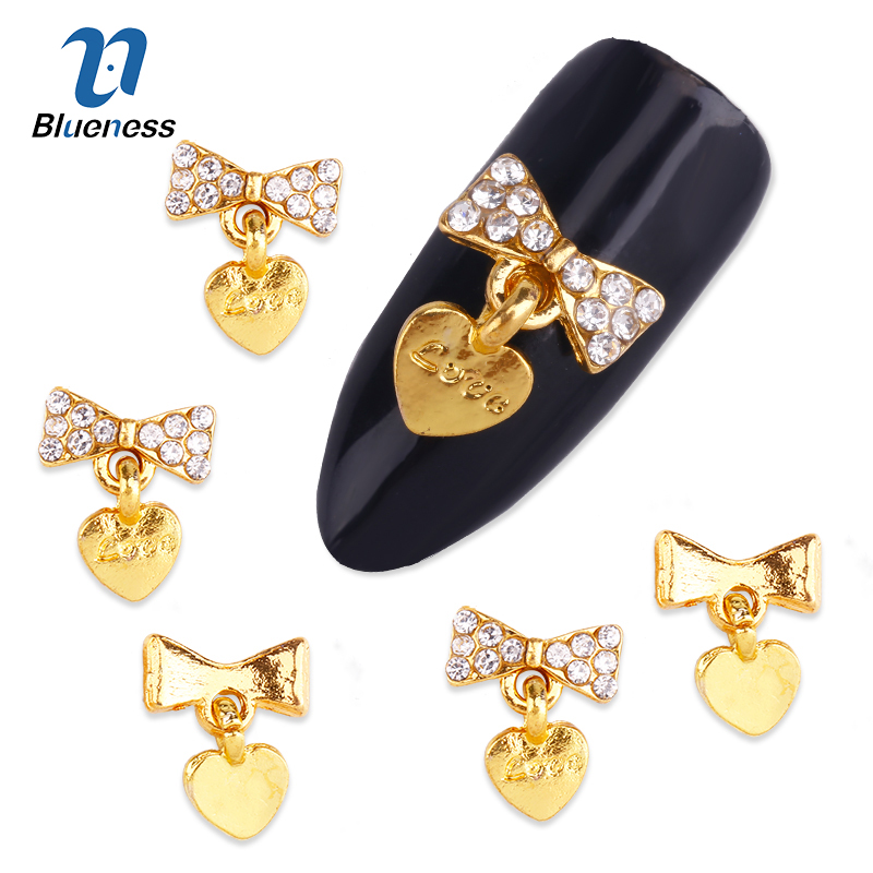 Blueness 10pcs Glitter Golden 3d Bows Nail Art Decorations with Heart Rhinestones, Alloy Nail Charms Jewelry for Nail Tool TN980 5pcs nail art rings glitter square strass rhinestones nails decorations new arrive 3d nail jewelry nail art bows charms mns743