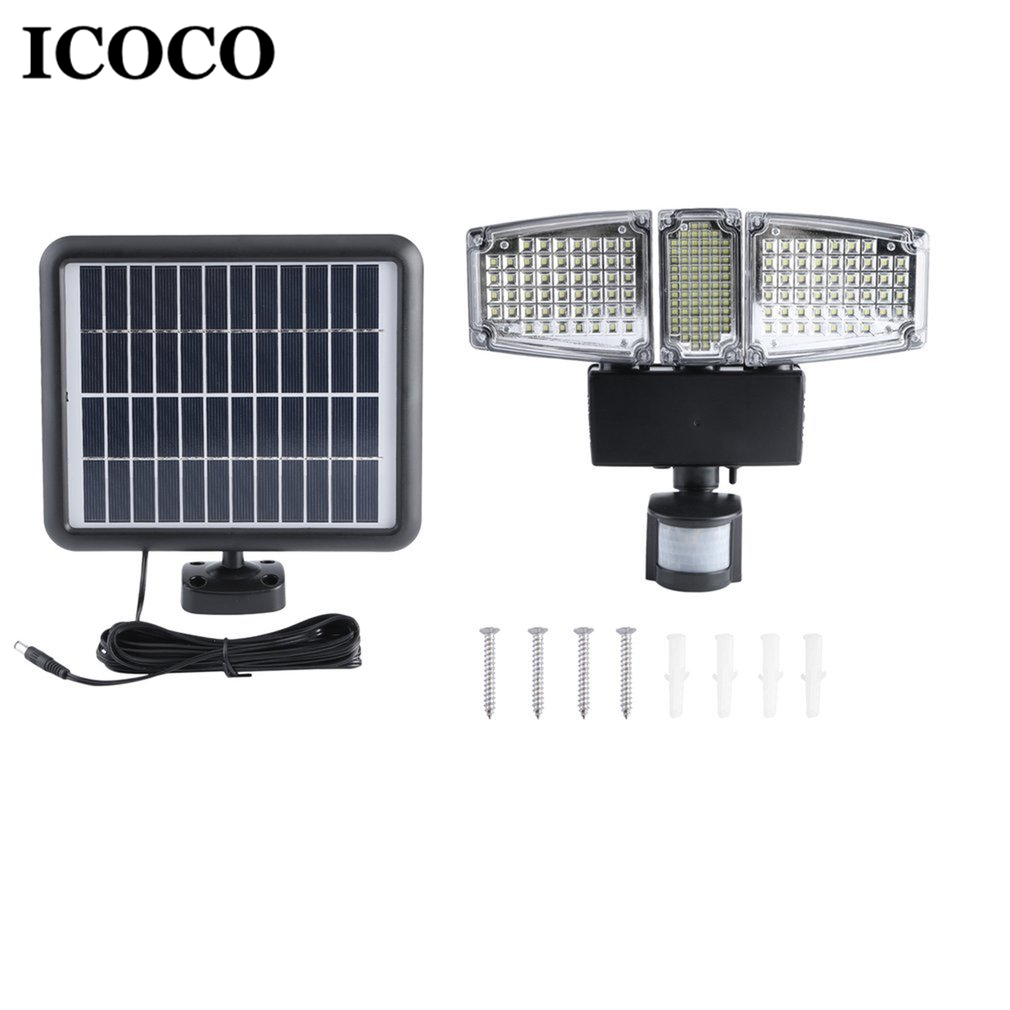 ICOCO 178 LED Three Head Outdoor Indoor Solar Powered Motion Sensor Activated Light Flood Lamp Induction Lamp Wall Mounted outdoor wall mounted solar motion sensor led white lamp silver