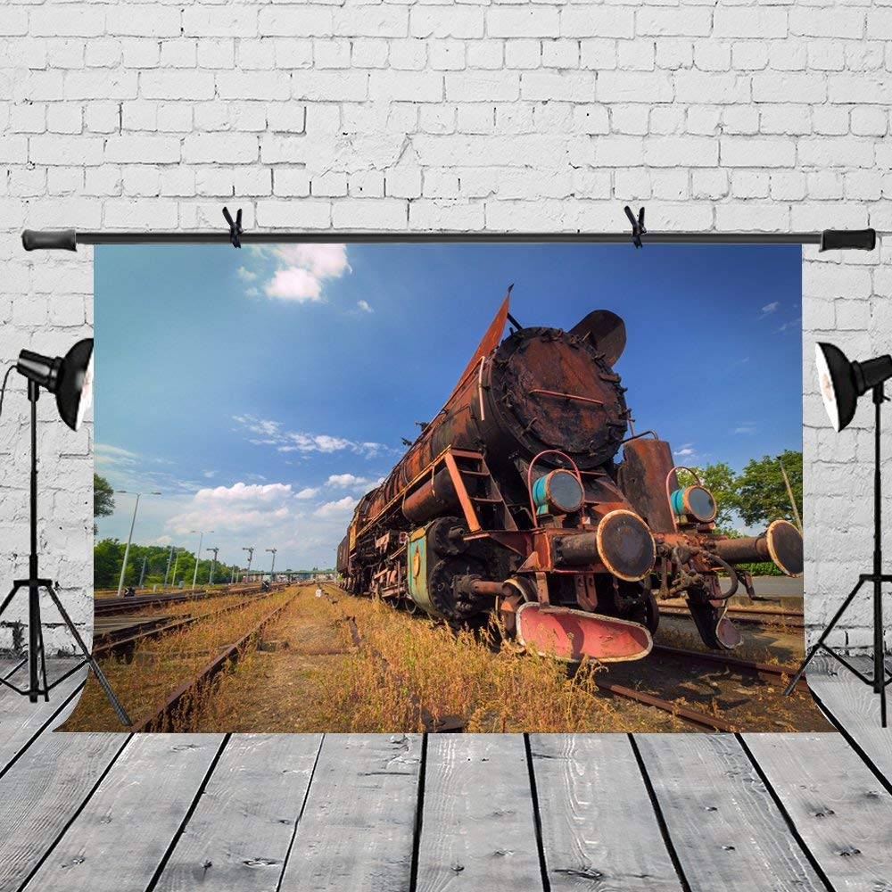 150x220cm Vintage Train Backdrop Blue Sky White Clouds Retro Jet Train Photography Background for Camera Photo Props in Photo Studio Accessories from Consumer Electronics