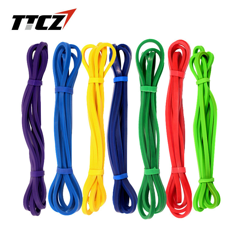TTCZ Fitness Equipment Loop Cross Fit Tension Resistance Band Exercise Elastic Band 6 Color Rubber Expander Band Pull belt 208cm