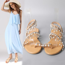 Women's Sandals Shoes 2019 summer Pearl artificial PU round head flat low heel beaded, Breathable, wear resistant back side air