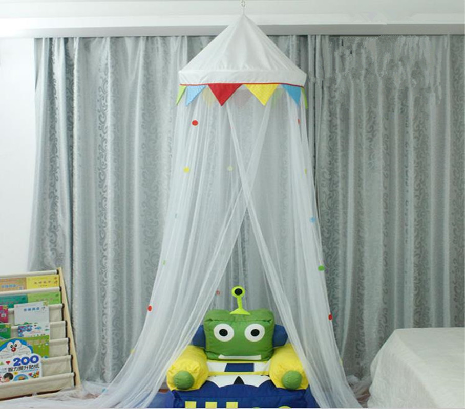 Crib Netting Court Style Baby Crib Mosquito Netting Polyester White Ceiling Baby Bed Netting Child Room Bedding Decoration
