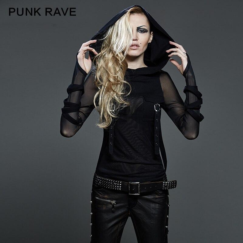 PUNK RAVE Punk Women Dark Street T Shirt Big Hood Black Translucent Long Sleeves Stretch Tee Shirt Heavy Steampunk Tops Hooded