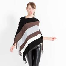 Autumn and winter new knitted turtleneck cape shawl female fashion stripes European and American style ladies scarf cloak(China)