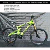 21 24 27 30 Speeds 26 17 Aluminium Alloy Soft Tail Full Suspension Downhill Bicicleta Mountain