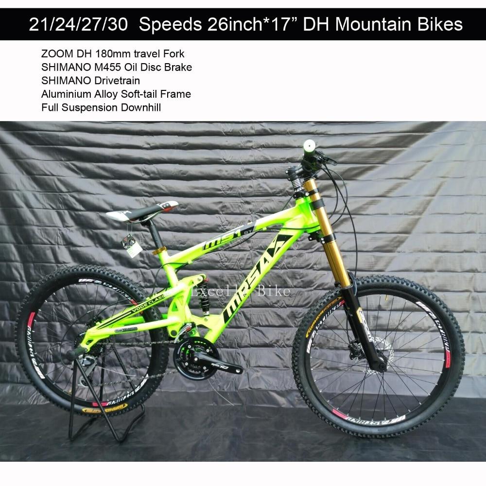 21/24/27/30 Speeds 26*17 Aluminium Alloy Soft-tail Full Suspension Downhill Bicicleta Mountain Bike26 Oil Disc Brake Bicicletas