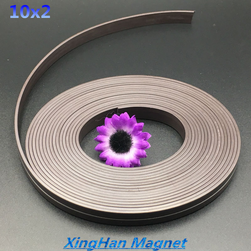 Free shipping  10x2mm 5meters rubber soft magnetic screen window advertising rubber magnetic stripe a bar magnet  stripe 10*2 mm