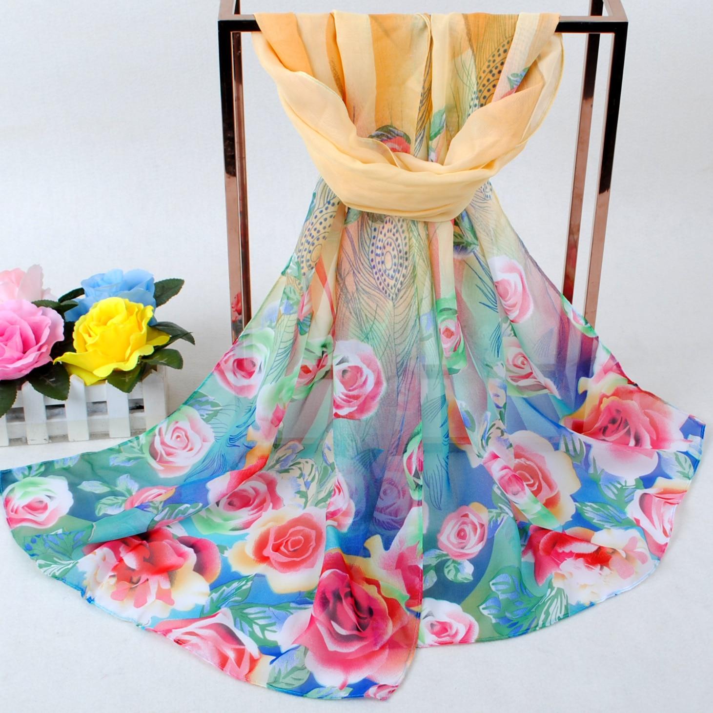 Spring And Summer Women Scarf 2019 New Pashmina Shawl Printed Cape Silk Chiffon Polyester Tippet Muffler Luxury Brand Bib