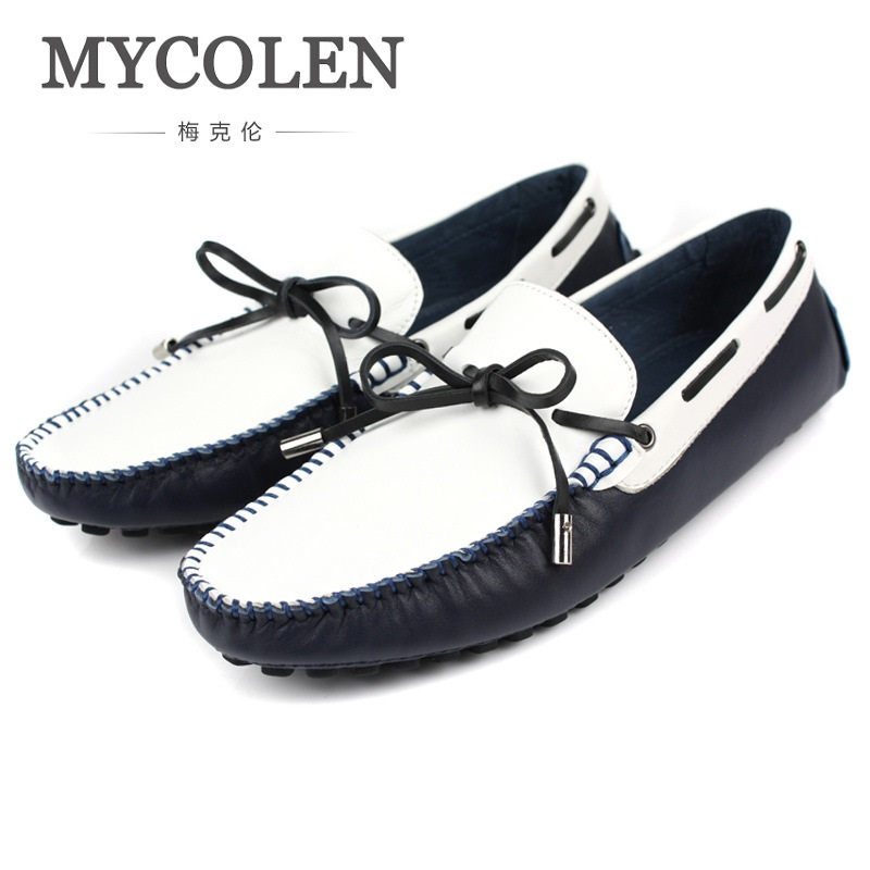 MYCOLEN 2018 Brand Fashion Summer Style Soft Lace-Up Men Peas Loafers High Quality Shoes Men Flats Driving Shoes Zapatos zenvbnv high quality summer cow genuine leather men shoes soft loafers fashion brand men moccasins flats comfy driving shoes