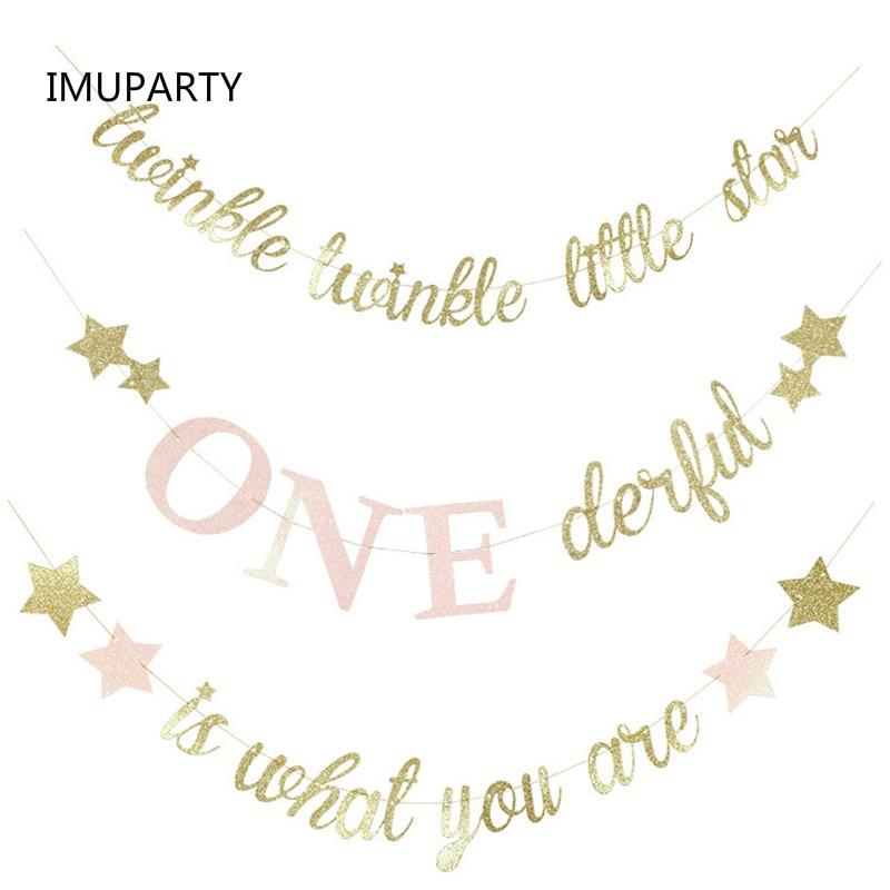 Pink Twinkle Twinkle Little Star 1st Birthday Bunting