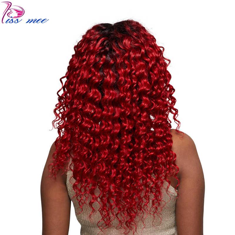 KISS MEE предварительно сорвал с волосами младенца Омбре красный перуанский глубокий парик с волнистыми волосами Полный кудрявый Боб кружева передние человеческие волосы парики