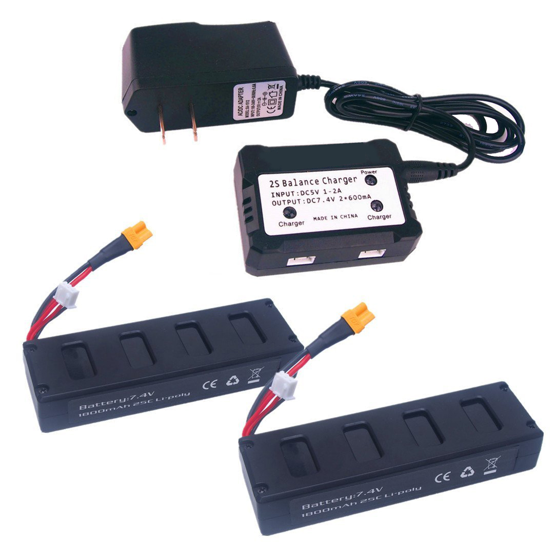 EBOYU(TM) 2pcs 7.4V 1800mah 25C Battery And 1to2 7.4V Battery Charger For MJX B3 Bugs 3 Rc Quadcopter Drone Spare Parts original accessories mjx b3 bugs 3 rc quadcopter spare parts b3 024 2 4g controller transmitter
