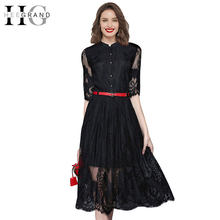 90815e9738 HEE GRAND 2018 Summer Knee-Length Half Sleeve Belt Dresses Women Sexy Stand  Collar A-Line Solid Black Lace Dress WQL4667
