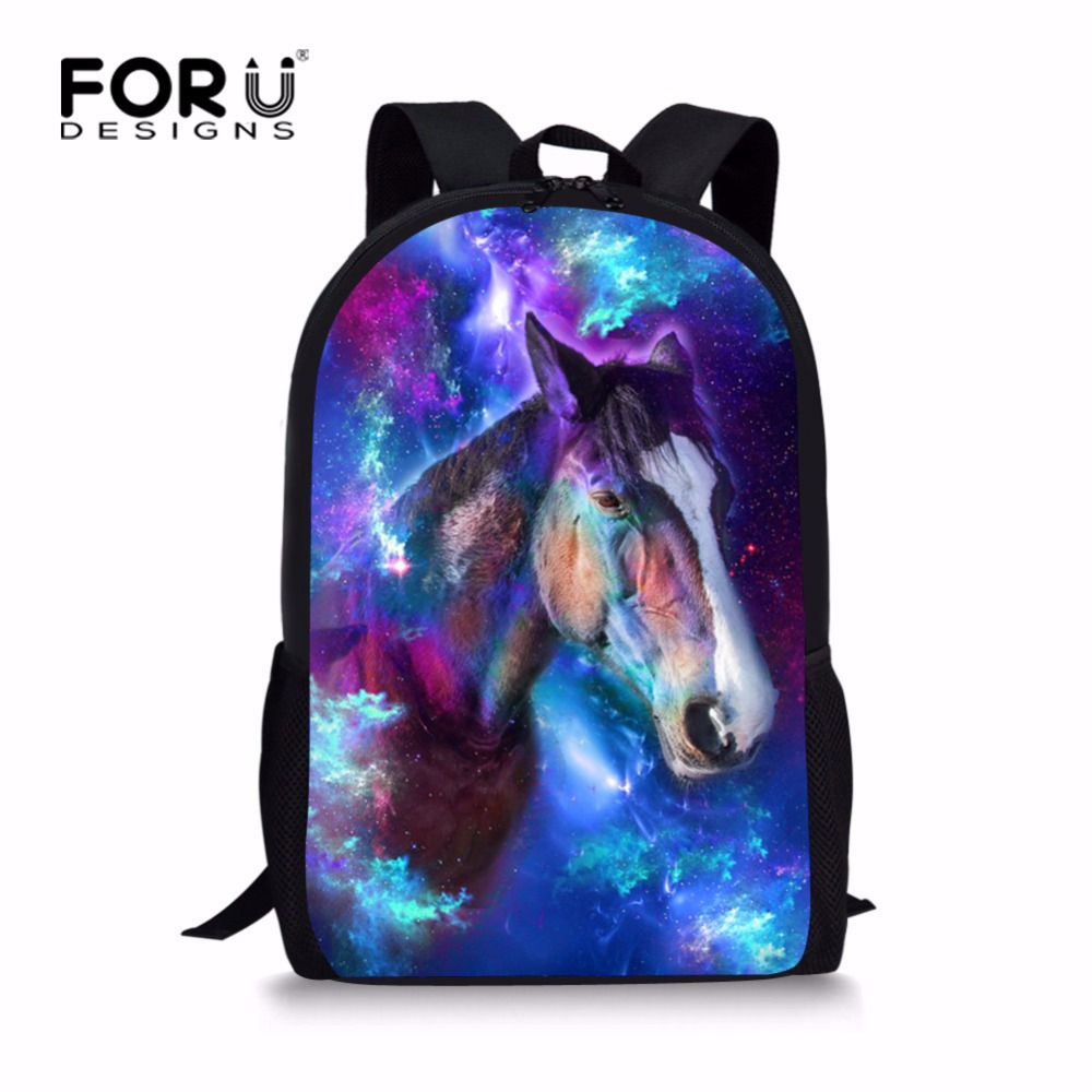FORUDESIGNS Personalized Printing Horse Backpack for Teen Girls Cool Galaxy Star Kids School Bagpack Middle Children Rucksack