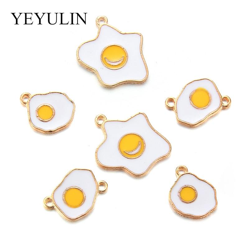 10pcs Vivid Fried Egg Omelette Little Cute Pendant Charm Three Shape Optional Unique Jewelry Accessory DIY Findings
