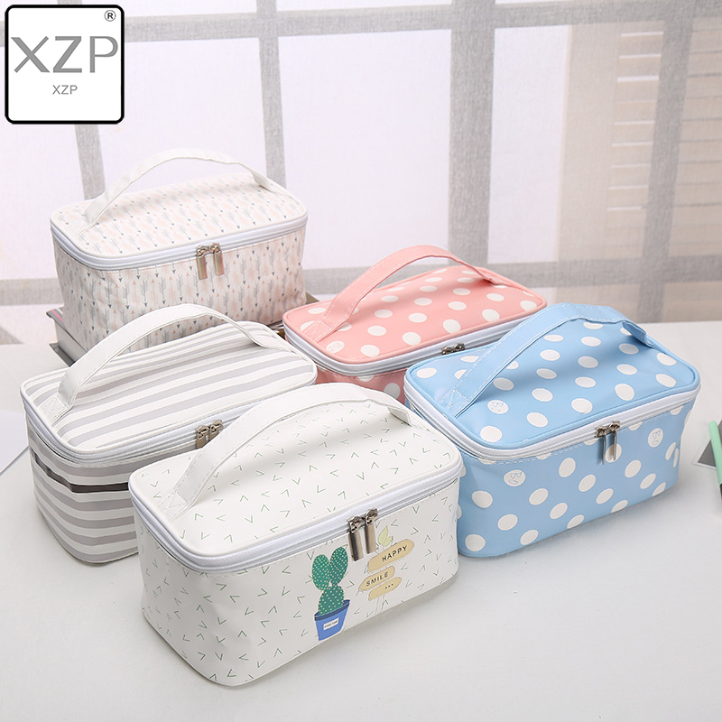 XZP Large Capacity Ladies Makeup Bag Organizer PU Leather Cosmetic Bag For Women Toiletry Bag Travel Kits Beautician Storage Bag