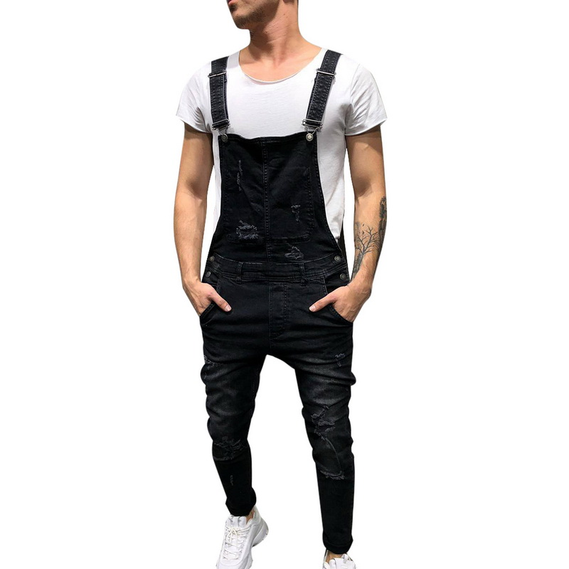 HEFLASHOR 2018 New Ripped Jeans Jumpsuit Men Fashion Streetwear Hole Denim Overalls Autumn Male Casual Pockets Vintage Jeans