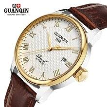 GUANQIN relojes mecánicos para hombre, reloj masculino de pulsera, de cuero, de negocios, resistente al agua, 2019