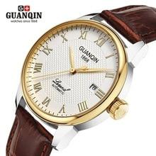 Original GUANQIN Watches Men Mechanical Watch 2019 Leather Clock Luxury Mens Watch Business Waterproof Watches for Men Clock