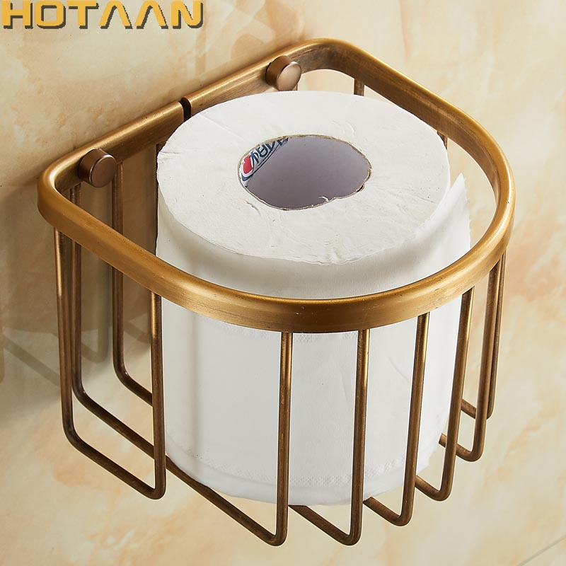 Free Shipping Wholesale And Retail Wall Mounted Bathroom Toilet Paper Holder Antique Brass Roll Tissue Box YT-1392