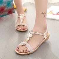 Women Sandals 2017 Hot Bohemia Beaded Owl Wedge Sandals Women Flip Flop Summer Style Shoes Woman